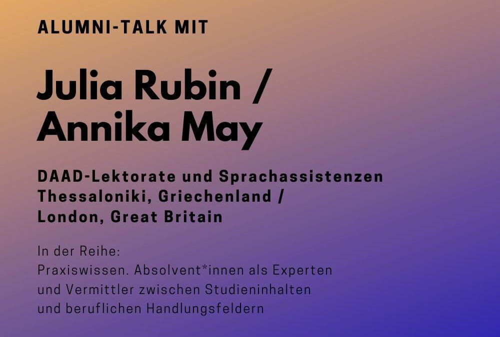 Talk mit Julia Rubin und Annika May