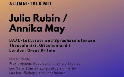 Alumni Talk mit Julia Rubin / Annika May